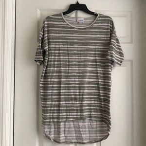 Lularoe high low grey striped tee